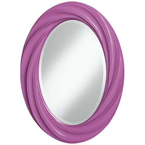 "Pink Orchid 30"" High Oval Twist Wall Mirror"