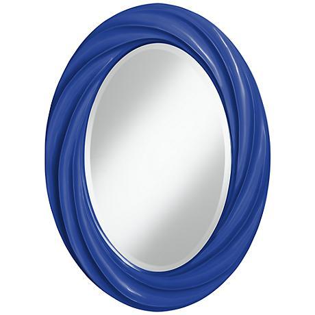 """Dazzling Blue 30"""" High Oval Twist Wall Mirror"""