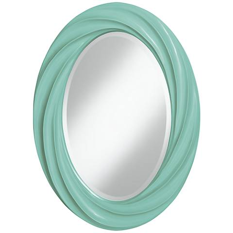 "Rapture Blue 30"" High Oval Twist Wall Mirror"