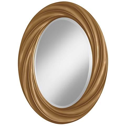 "Light Bronze Metallic 30"" High Oval Twist Wall Mirror"