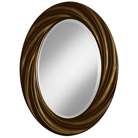 "Bronze Metallic 30"" High Oval Twist Wall Mirror"