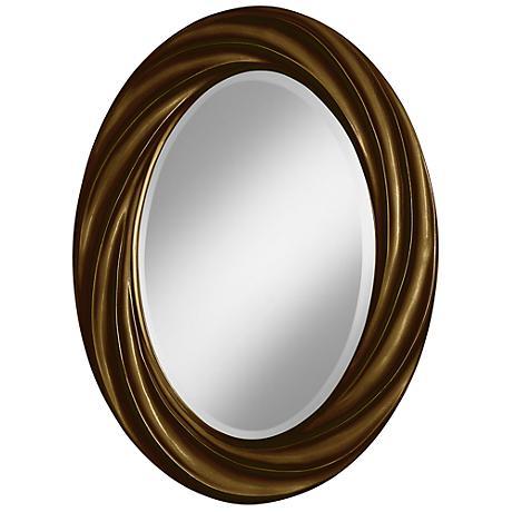 "Bronze Metallic 30"" High Oval Twist Wall Mirror"