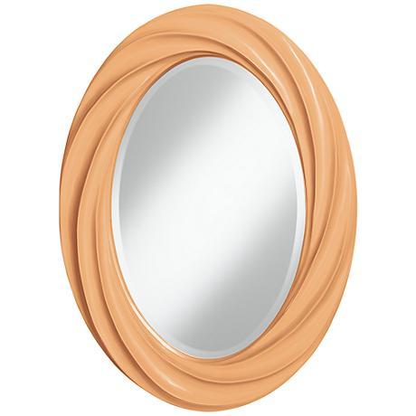 "Soft Apricot 30"" High Oval Twist Wall Mirror"