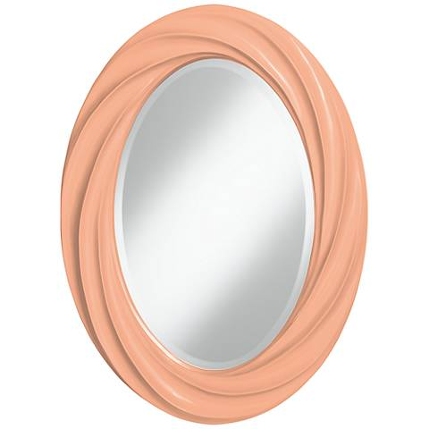 "Mellow Coral 30"" High Oval Twist Wall Mirror"