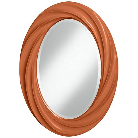 "Robust Orange 30"" High Oval Twist Wall Mirror"