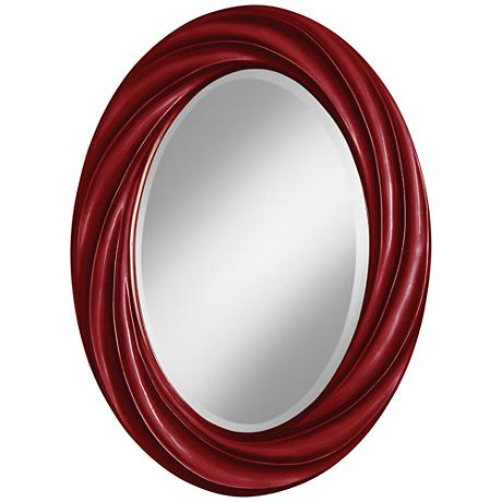 "Cabernet Red Metallic 30"" High Oval Twist Wall Mirror"