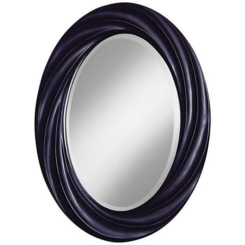 """Midnight Blue Metallic 30"""" High Oval Twist Wall Mirror"""