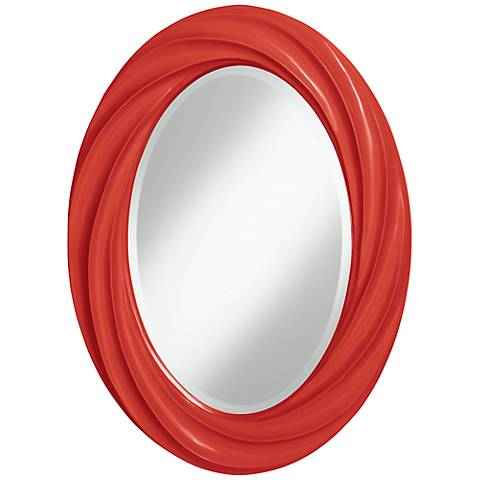 "Cherry Tomato 30"" High Oval Twist Wall Mirror"