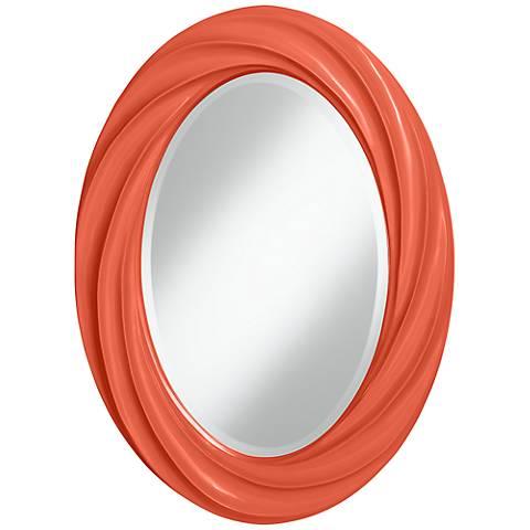 "Daring Orange 30"" High Oval Twist Wall Mirror"
