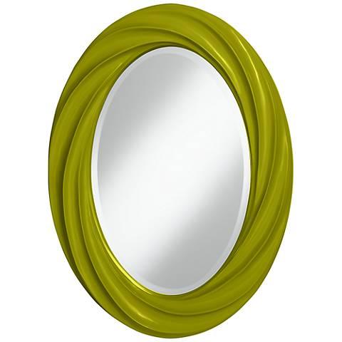 "Olive Green 30"" High Oval Twist Wall Mirror"