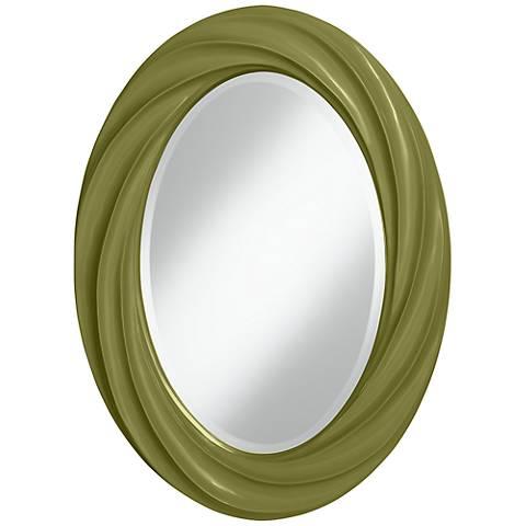 "Rural Green 30"" High Oval Twist Wall Mirror"