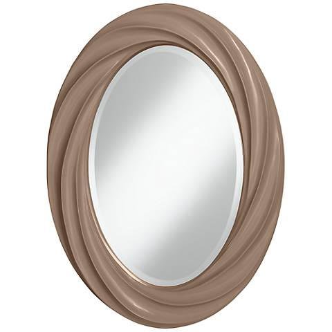 "Mocha 30"" High Oval Twist Wall Mirror"