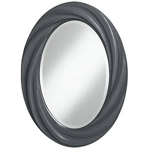 "Black of Night 30"" High Oval Twist Wall Mirror"