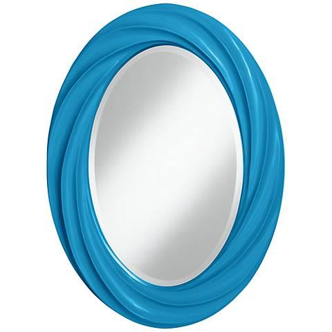 "River Blue 30"" High Oval Twist Wall Mirror"