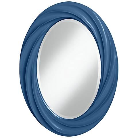 """Regatta Blue 30"""" High Oval Twist Wall Mirror"""