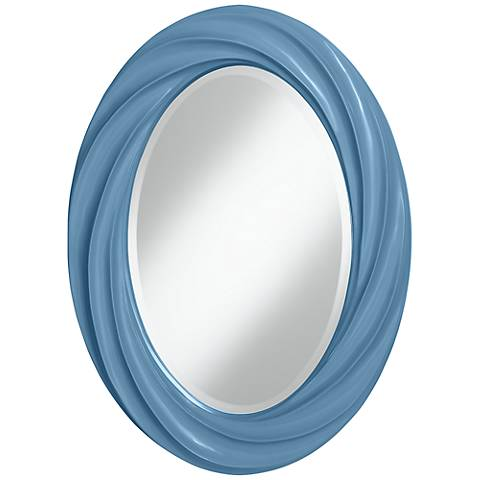 "Secure Blue 30"" High Oval Twist Wall Mirror"