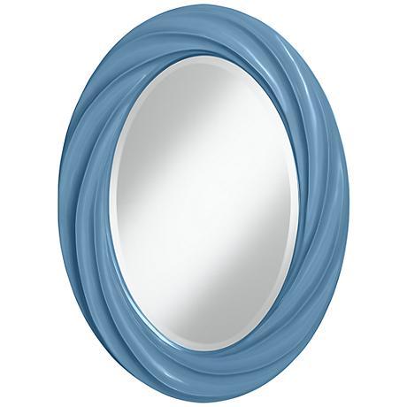 "Secure Blue 30"" High Oval Twist Wall Mirror"