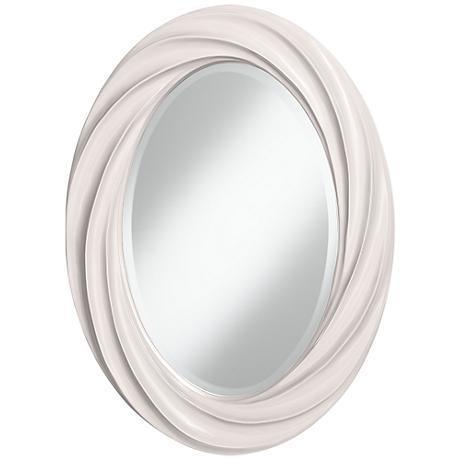 "Smart White 30"" High Oval Twist Wall Mirror"