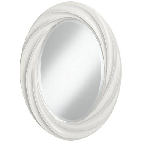 "Winter White 30"" High Oval Twist Wall Mirror"