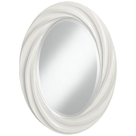 "Winter White 30"" High Oval Twist Wall Mirror"