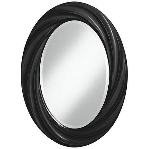 """Tricorn Black 30"""" High Oval Twist Wall Mirror"""