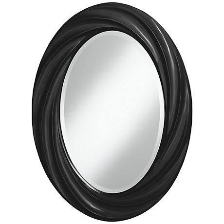 "Tricorn Black 30"" High Oval Twist Wall Mirror"