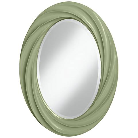 "Majolica Green 30"" High Oval Twist Wall Mirror"