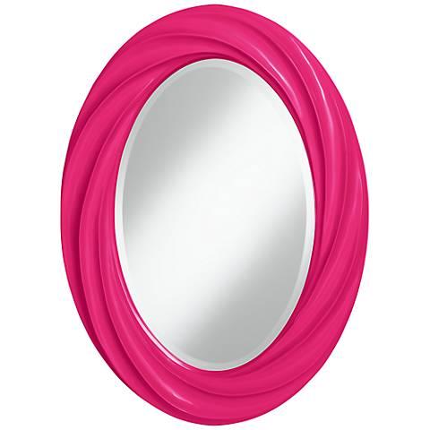 """French Burgundy 30"""" High Oval Twist Wall Mirror"""