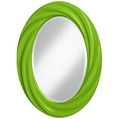 "Neon Green 30"" High Oval Twist Wall Mirror"
