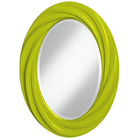 "Pastel Green 30"" High Oval Twist Wall Mirror"