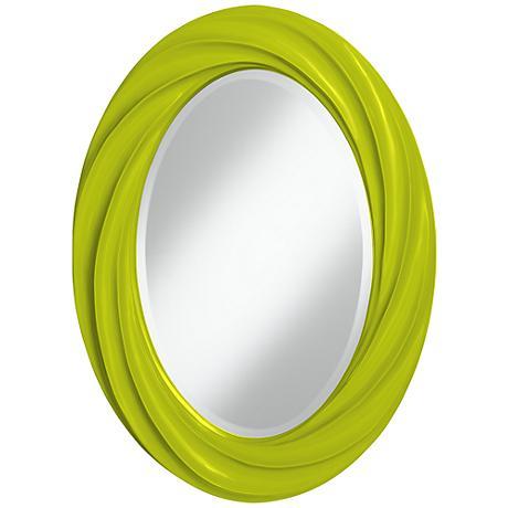 "Pastel Green 30"" High Oval Twist Wall Mirror"
