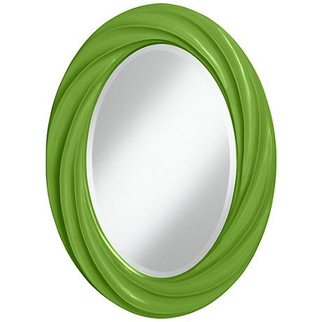"Rosemary Green 30"" High Oval Twist Wall Mirror"