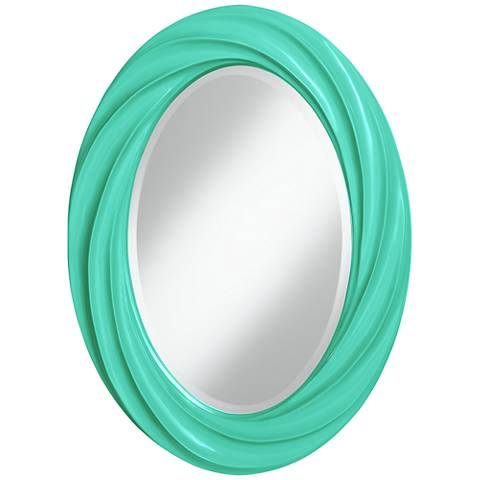 "Turquoise 30"" High Oval Twist Wall Mirror"