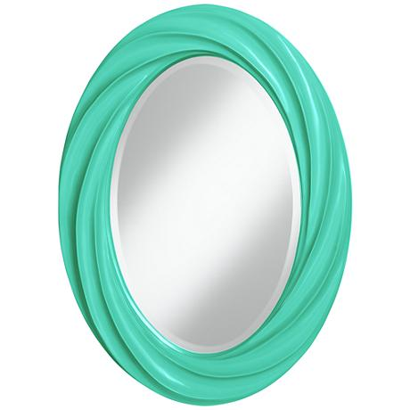 """Turquoise 30"""" High Oval Twist Wall Mirror"""