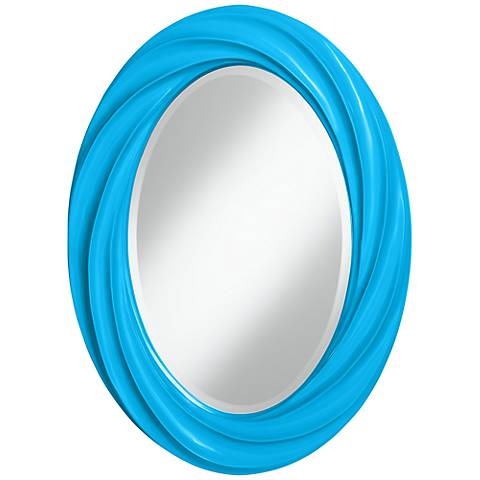 "Sky Blue 30"" High Oval Twist Wall Mirror"