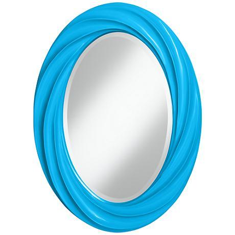 "Sky Blue 30"" High Oval Twist Wall Mirror"