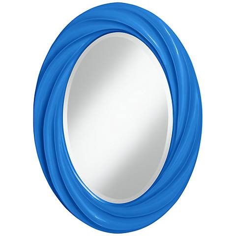 "Royal Blue 30"" High Oval Twist Wall Mirror"