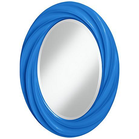 """Royal Blue 30"""" High Oval Twist Wall Mirror"""
