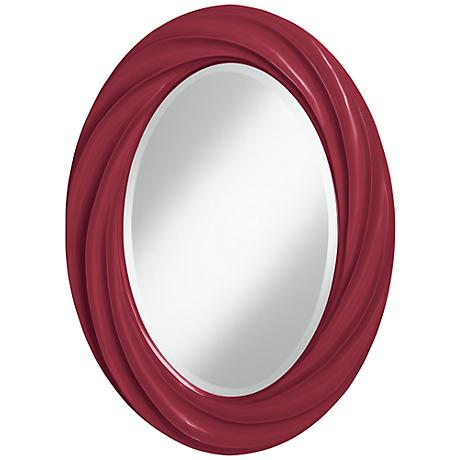 "Antique Red 30"" High Oval Twist Wall Mirror"