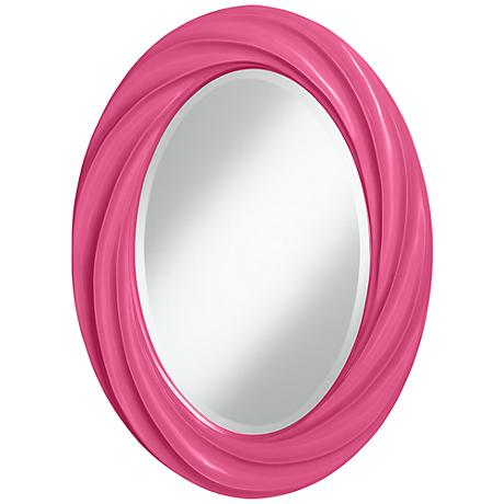 "Blossom Pink 30"" High Oval Twist Wall Mirror"