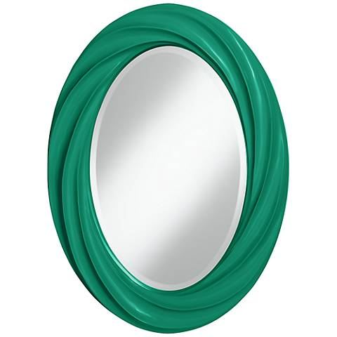 "Leaf 30"" High Oval Twist Wall Mirror"