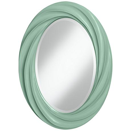 "Grayed Jade 30"" High Oval Twist Wall Mirror"