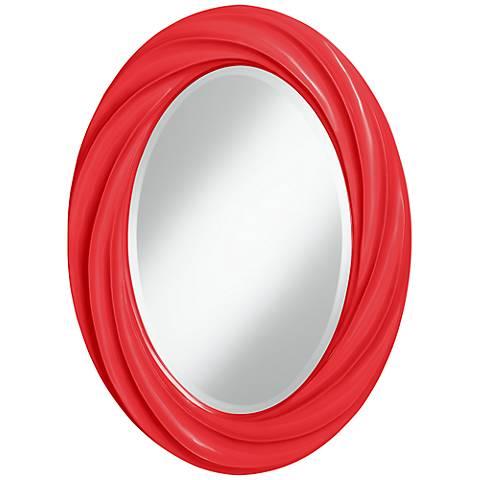 "Poppy Red 30"" High Oval Twist Wall Mirror"