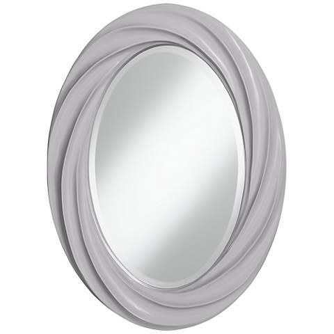 "Swanky Gray 30"" High Oval Twist Wall Mirror"