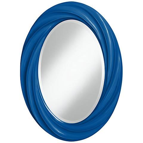 """Hyper Blue 30"""" High Oval Twist Wall Mirror"""
