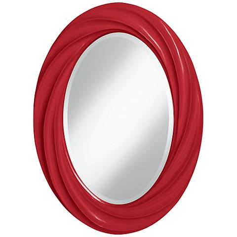 "Ribbon Red 30"" High Oval Twist Wall Mirror"