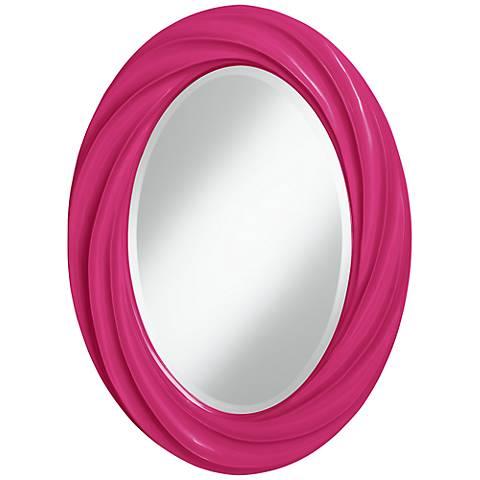 "Beetroot Purple 30"" High Oval Twist Wall Mirror"