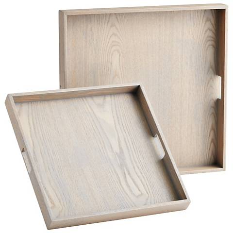 Set of 2 Caffin Bleached Oak Veneer Square Trays