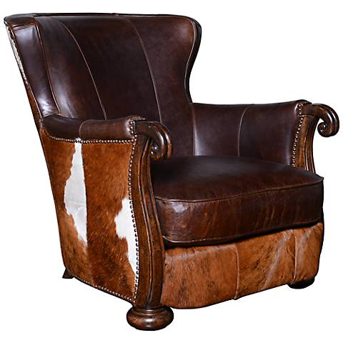 Kennedy Hide Lounge Chair with Wood Arms