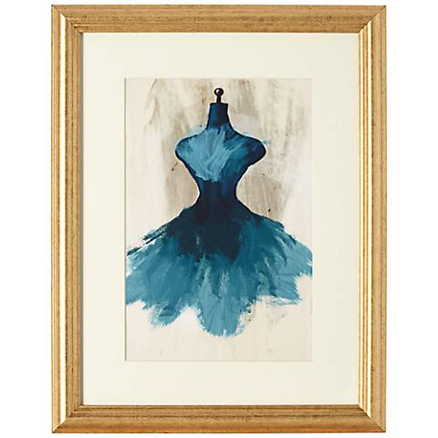"Teal Couture Fashion 18"" Gold Framed Wall Art"